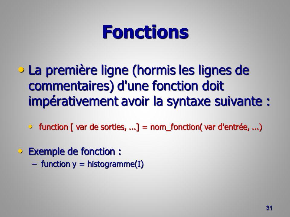 function [ var de sorties, ...] = nom_fonction( var d entrée, ...)